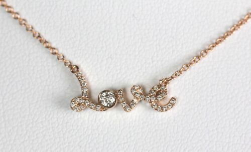 "14k or rose Script /""LOVE/"" COLLIER avec 0.14cts Diamond"