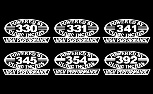 2 EARLY V8 HEMI ENGINE HP DECALS 330-331-341-345-354-392 VINTAGE MOTOR STICKERS
