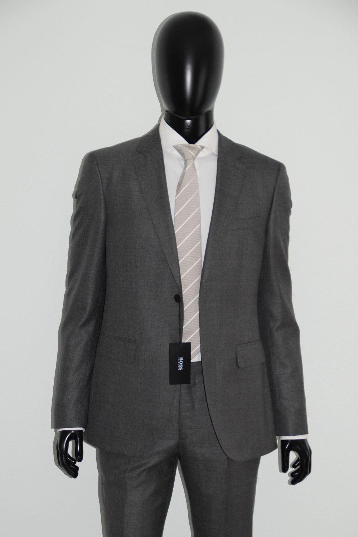 HUGO BOSS ANZUG, Mod. Johnstons1 Lenon, Gr. 94, Silk-Wool, Dark grau