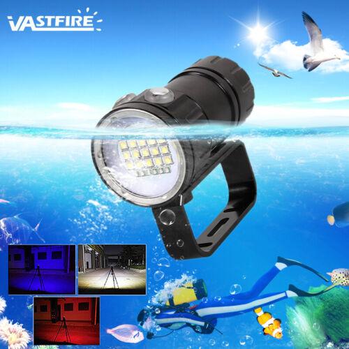 20000LM 15*XM-L2+6x Blue+6x Red Diving Scuba Flashlight Vedio Hiking Torch Lamp