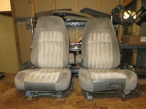 Bucket Seats For Chevy Truck >> Details About 88 94 Chevy Silverado Suburban 454 Ss Sierra Yukon Gray Power Bucket Seats