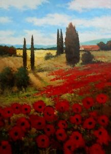 Painting-Original-Acrylic-on-Canvas-Landscape-Art-034-Poppies-034-by-Hunoz-24-x-18-034