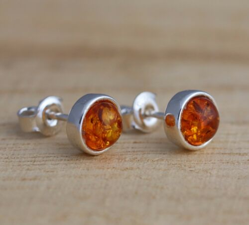 Cognac Baltic Amber 925 Sterling Silver Round Stud Earrings Jewellery