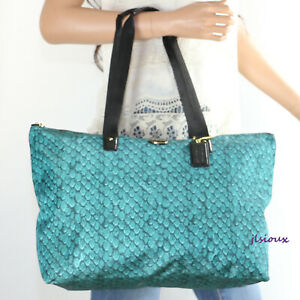 Details About Nwt Coach Snake Print Nylon Packable Weekender Tote Bag F77461 Emerald Green New