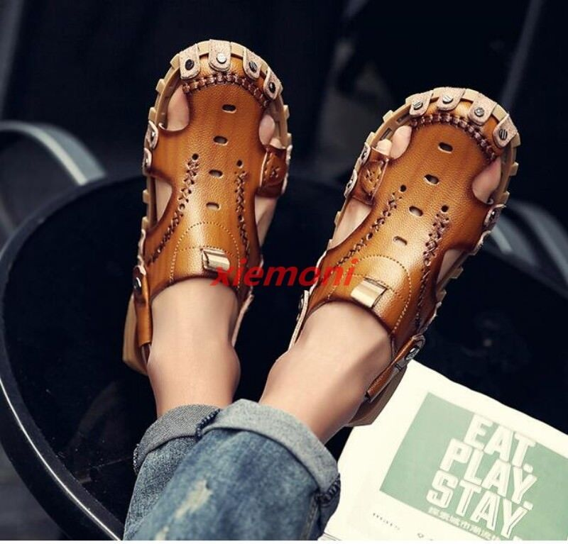 Men Leather Closed Toe Sandals Summer Casual Leisure Beach Slippers shoes New Sz