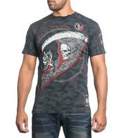Men's Affliction Tick Tock Line Skull Motorcycle Mma Graphic Print T-shirt
