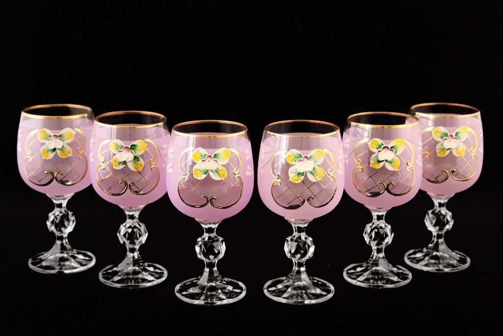 Bohemian Crystal Enameled Couleuruge Glasses, Vintage rose Wine Goblets, Set of 6