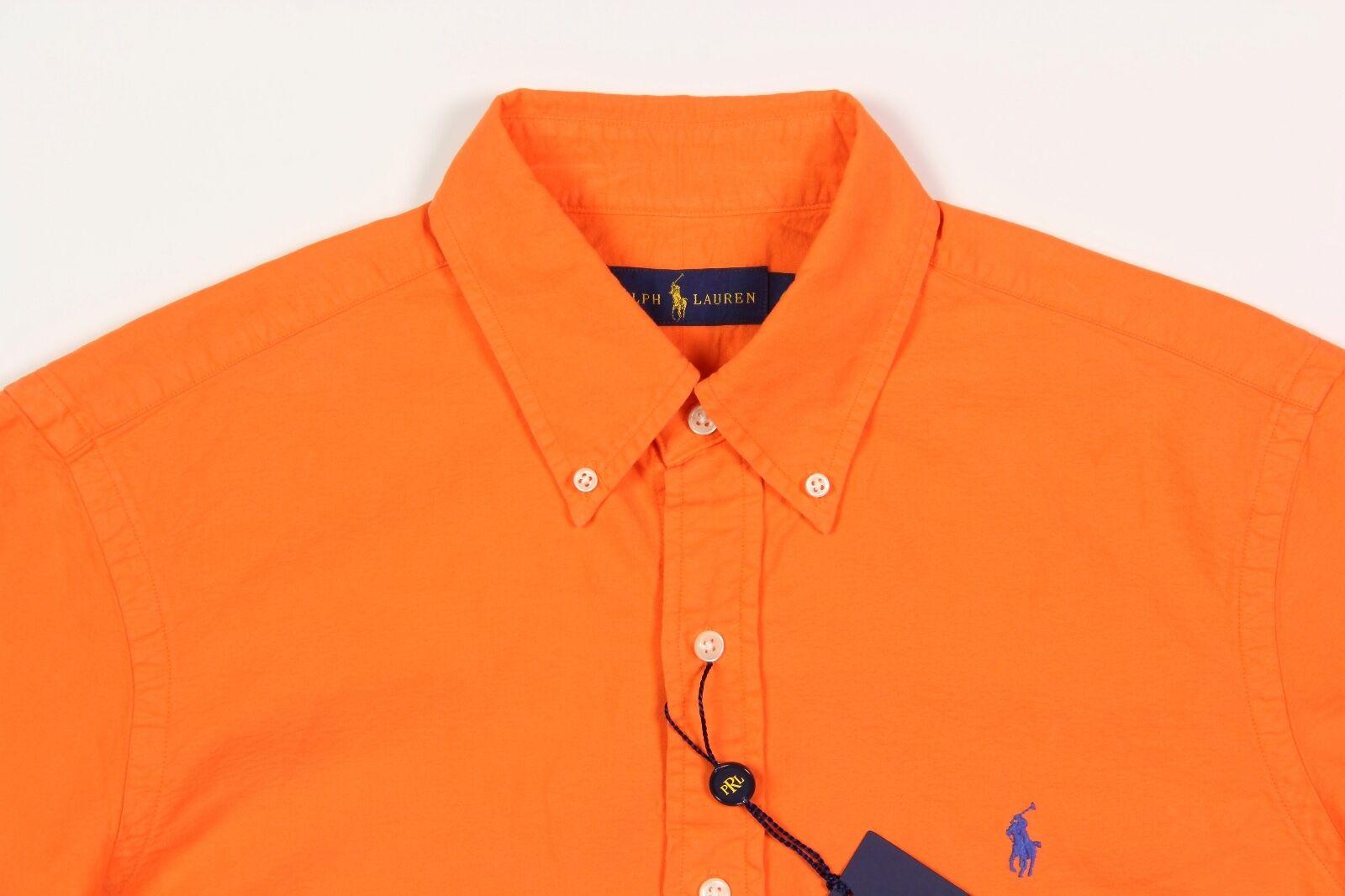 269b2c9b0 Men's RALPH LAUREN Resort orange Short Sleeve S S Cotton Shirt XL XLarge  NWT NEW