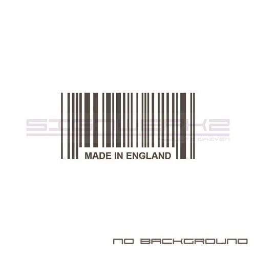 Made In England Bar Code Decal Sticker Racing mini Britain Pair