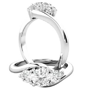 0.56 Ct Round Cut Moissanite Engagement Superb Rings 18K Real White Gold Size 8