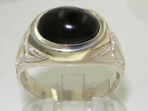 925-Solid-Sterling-Silver-Natural-Cabochon-Onyx-Mens-Gents-Signet-Ring