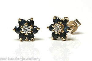 9ct-Gold-Sapphire-and-CZ-cluster-Stud-earrings-Gift-Boxed-Made-in-UK-Christmas