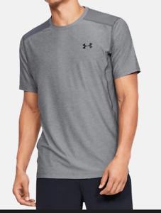 Under Armour Men's UA Raid Fitted Heat Gear Shirt - Grey Heather Black - Medium