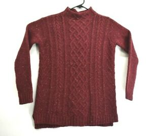 J-Jill-Women-039-s-XS-Mock-Neck-Cabled-Wool-Alpaca-Cashmere-Blend-Sweater-Brick-Red