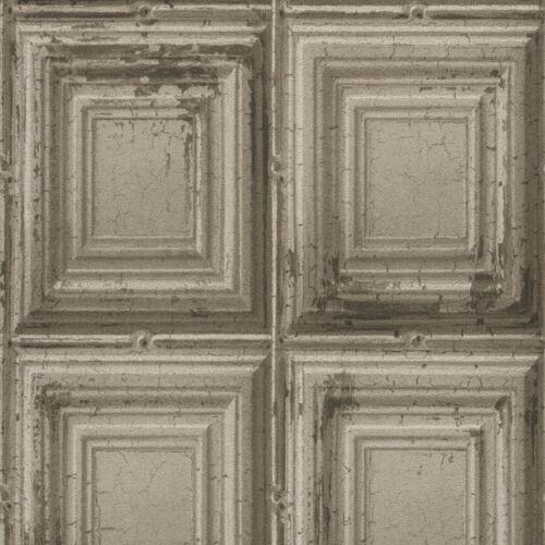 Rasch Vintage Retro Distressed Wood Panels Wallpaper Grey Vinyl Paste The Wall