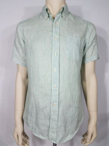 Brooks Brothers green white striped SS button up I