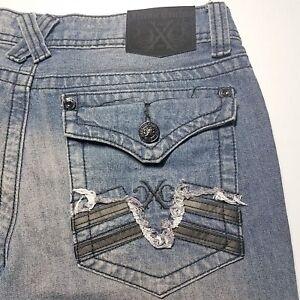 Men-039-s-Extreme-Couture-Dark-Blue-Flap-Pocket-Cotton-Jeans-Size-32-x-30