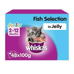 48 x 100g Whiskas 2-12 Months Kitten Wet Cat Food Pouches Mixed Fish In Jelly