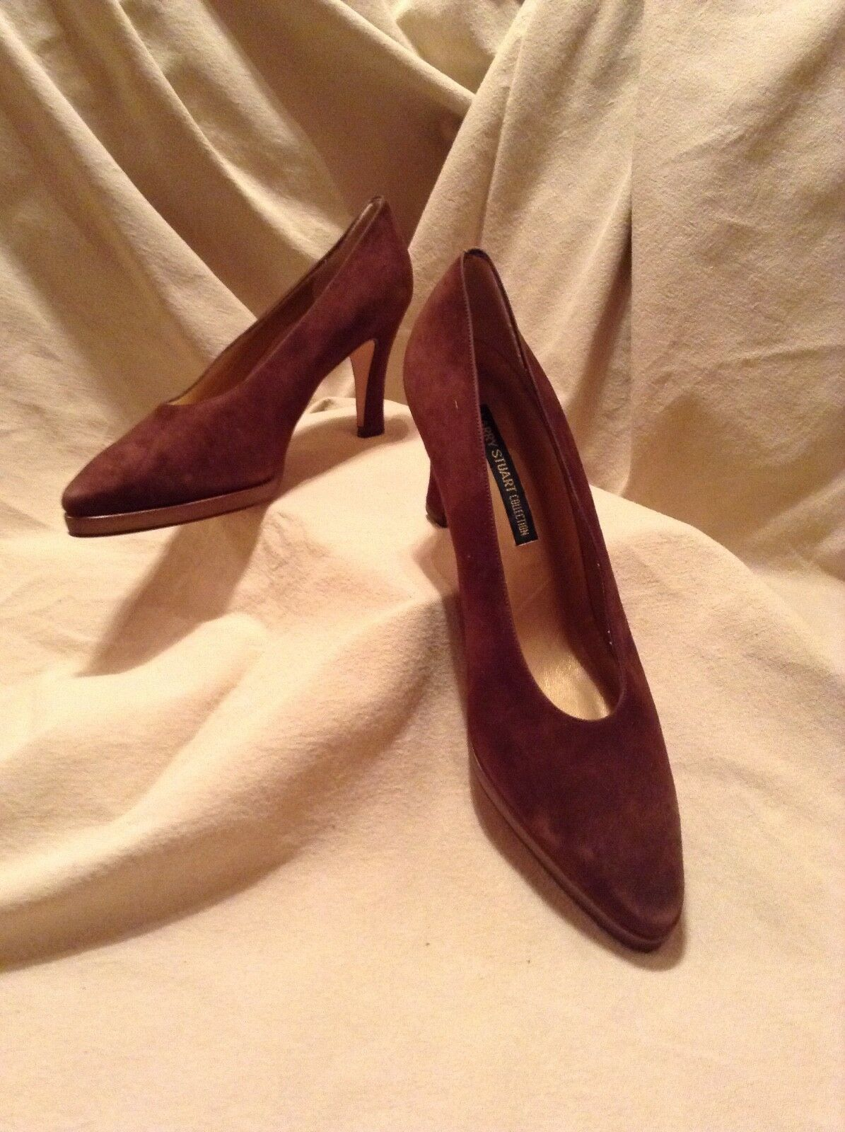 Women Larry Stuart Brown Suede Platform Pumps Size 9 M New.