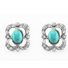 Vintage Queen Design Turquoise with Rhinestones Studs Earrings E692