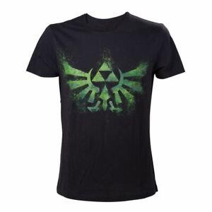 Para-Hombre-Legend-of-Zelda-Trifuerza-con-logotipo-en-negro-y-verde-T-Shirt-Camiseta-de-cuello