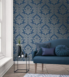 Image Is Loading Pear Tree Feature Wallpaper Damask Metallic Glitter Grey