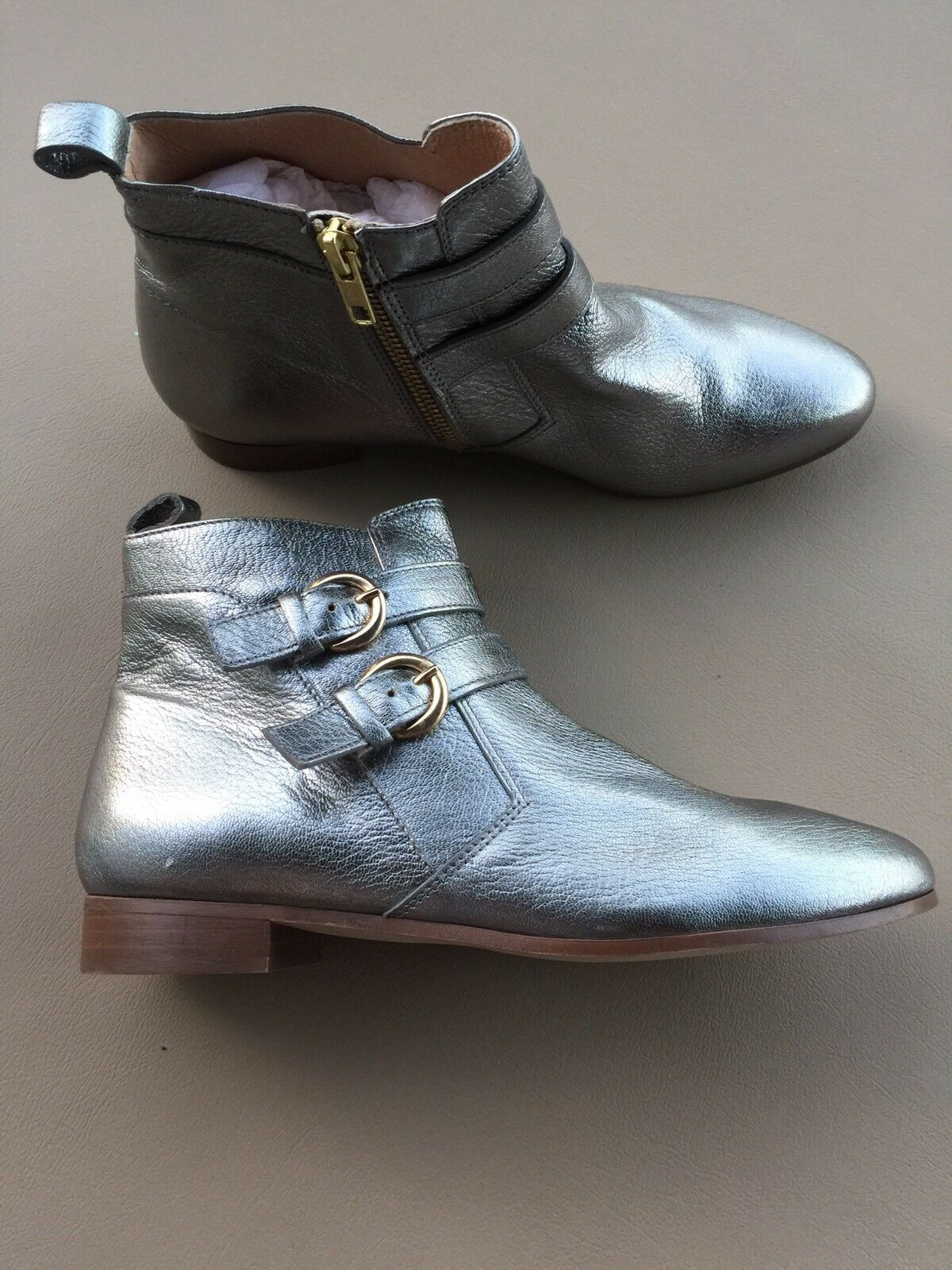 J Crew New Metallic Double Buckle Ashfield Boot Pewter Size 7