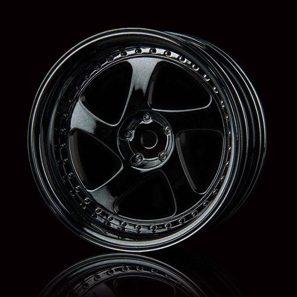 Mst RC 1/10 Drift Car Plastic TMB Wheels Offset 8 Silver Black 4pcs  #102045sbk