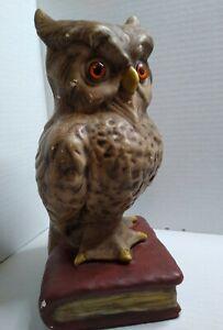 VTG Large Owl Ceramic Figurine Statue 70s Retro Glass Eyes