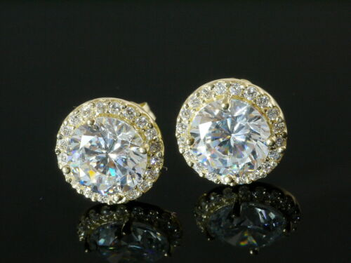 750 Gold Ohrstecker grosse runde 9,5 mm  1 Paar mit 50 Zirkonia Steinen
