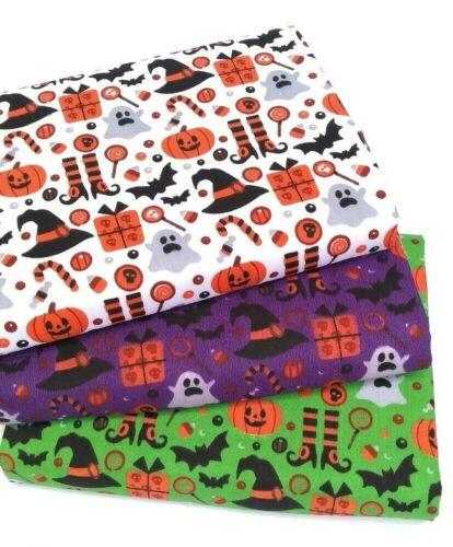 Tessuto Poli Cotone Halloween STREGA ZUCCA PIPISTRELLI ARANCIO VERDE VIOLA Poly Cotone
