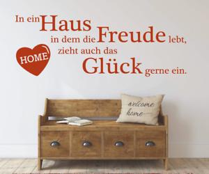 X4484-Wandtattoo-Spruch-In-ein-Haus-Freude-Glueck-Sticker-Wandaufkleber-Aufkleber