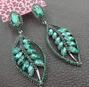 Women-039-s-Green-Crystal-Rhinestone-Leaf-Betsey-Johnson-Stud-Dangle-Earrings