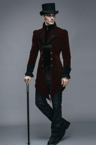 Black or Burgundy Devil Fashion CT022 Men/'s Vampire Victorian Gothic Jacket