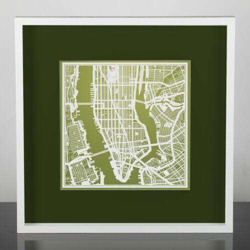 NY PAPER CUT MAP Manhattan Paper Art Original Design IDEAL GIFTS 12 12In.