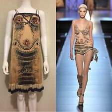 Rare Vintage Jean Paul Gaultier Nude Tattoo Slip Silk Dress
