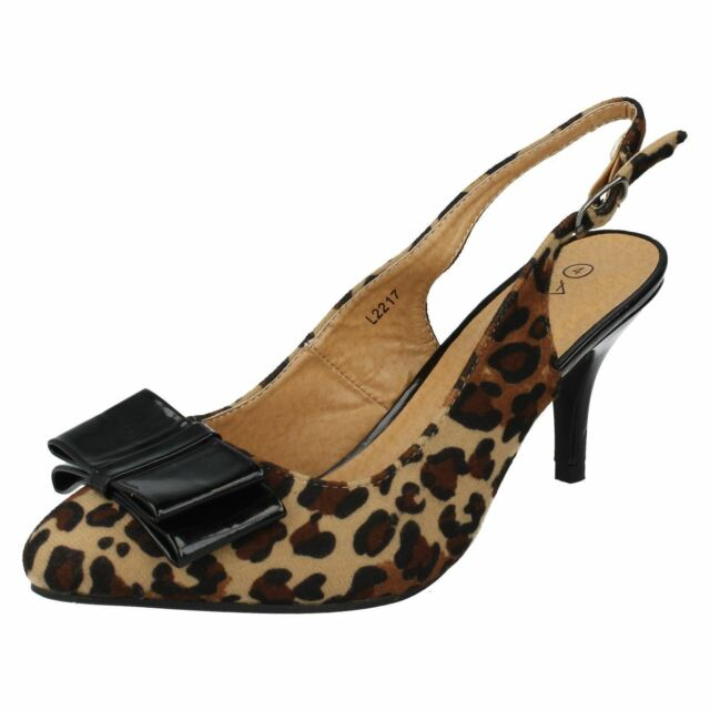 Anne Michelle L2R217 Ladies Leopard Suedette Slingback Shoes (R11B)