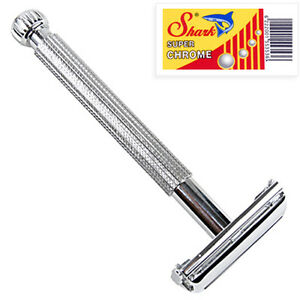 Parker-29L-LONG-HANDLE-Butterfly-Safety-Razor-amp-5-Double-Edge-Blades