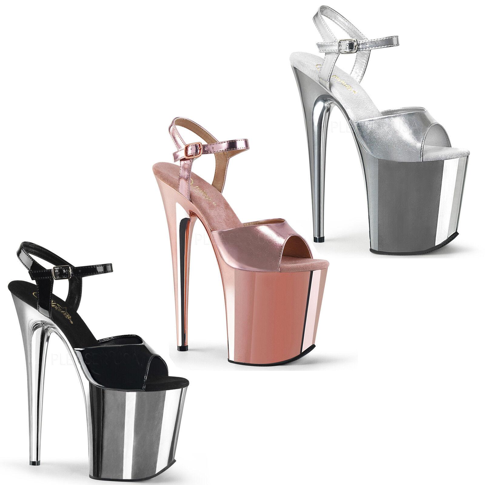 Flamingo-809 High Heels Plateausandaletten black silver pink chrom Gr 35-43