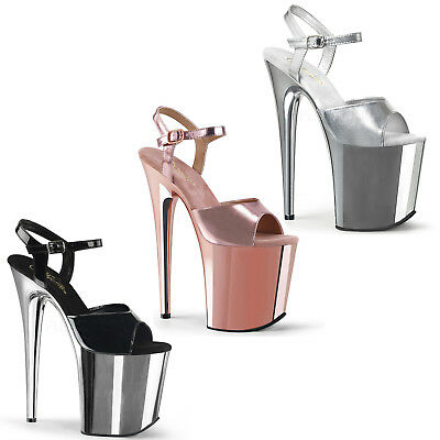 Flamingo-809 High Heels Plateausandaletten schwarz silber rose chrom Gr 35-43