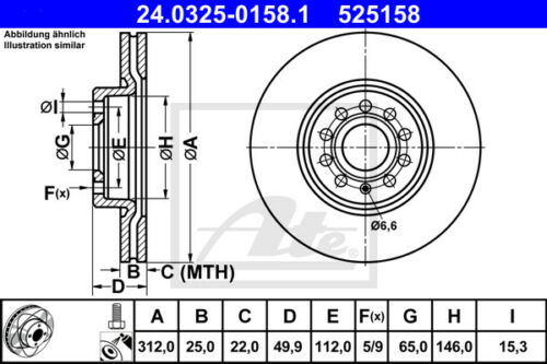 ATE Powerdisc Bremsscheiben für AUDI A3 Sportback VA 8PA Beläge Vorderachse