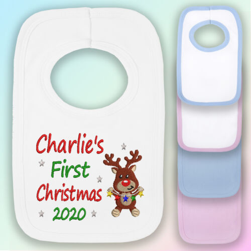 Personalised 1st Christmas Reindeer Embroidered Baby Pull-Over Bib Gift Year