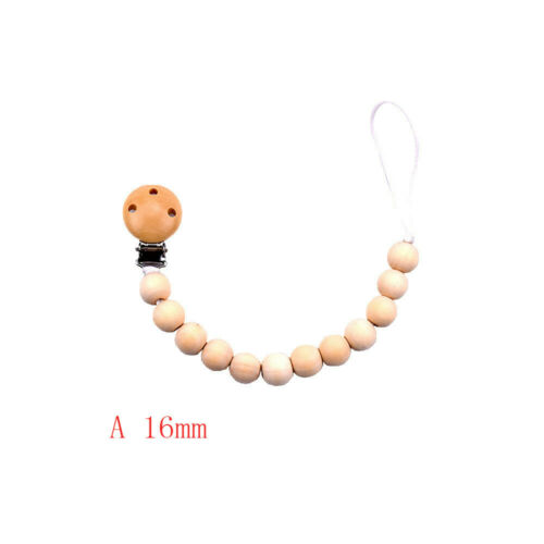 Wood Beaded Pacifier Clip Baby Dummy Chain Nipple Holder Infant Soother Teether