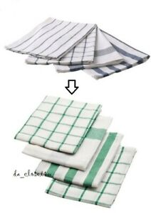 Details about IKEA ELLY Kitchen Dish Towels Set of 4 White Green 100%  Cotton - New Fast
