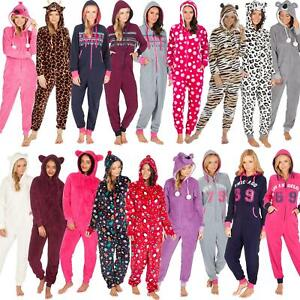Ladies-Womens-Girls-Fleece-All-In-One-Pyjamas-Outfit-Jumpsuit-Costume-Size-6-18