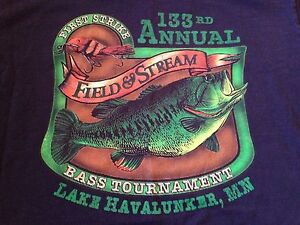 Men 39 s vintage field stream t shirt large 133rd annual for Field and stream fishing shirts