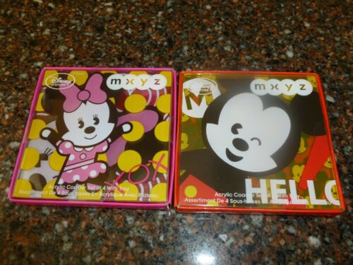 Disney Store MXYZ Mickey & Minnie Mouse Coasters 2 Sets of 4 NWT