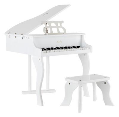 FunKey Spielzeug Kinder Piano Flügel Hocker Sitz Bank Musikinstrument weiß