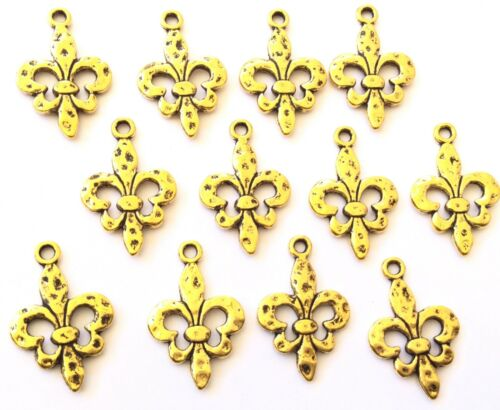12 Amazing Antique Gold Fleur de Lis jewelry Supplies-CHOOSE Size!!!