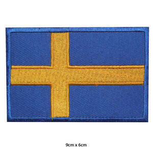 Sweden-National-Flag-Embroidered-Patch-Iron-on-Sew-On-Badge-For-Clothes-Bags-etc